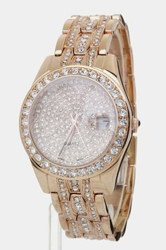 Lovely Gift: Rosegold Crystal Encrusted Watch  - $79