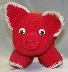 1970's Hand Made Crochet Red Pig with by PickersGeneralStore, $10.00