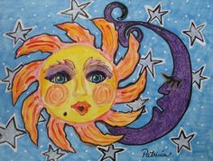 Sun and Moon with Stardust water color original by patriciaezzell