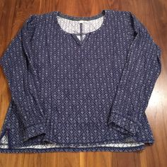 """Anthropologie Eloise Waffle Top Blue diamond print top with notch v in front. Cotton spandex blend. 21"""" across bust. 23"""" length. Anthropologie Tops"""