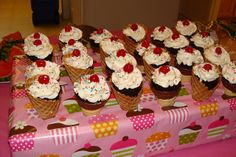 Ice cream cone cupcakes! Make sure to brush the inside of the cone with chocolate or they will get soggy!