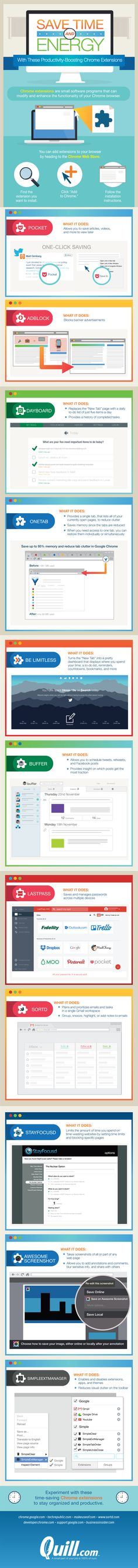 Save Time And Energy With Productivity-Boosting Chrome Extensions #Infographic #Business #WebDevelopment