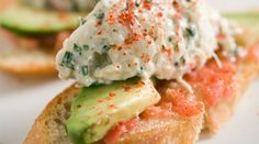 crab salad, tomato and avocado on toast... this sounds expensive, but also quite tasty