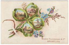 Belgian victorian trade card  Lucky four by EphemeraUniversalis, $4.95