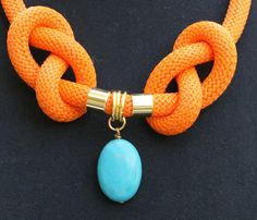 Orange climbing cord design necklace rope by Tmlccreations on Etsy