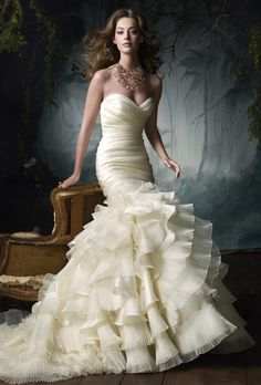 Lazaro - Silk satin organza flamenco bridal gown, sweetheart neckline, elongated draped bodice, flamenco ruffle pleated skirt, chapel train.