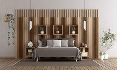 Wood PVC wall panels for bedroom Wall Panels Bedroom, Wooden Wall Design, Wood Paneling Decor, Wooden Wall Panels, Wall Decor Bedroom, Bedroom Design, Cottage Style Bedrooms, Wooden Design, Wall Design