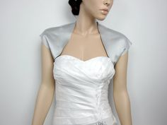 Silver sleeveless satin wedding bolero jacket shrug via Etsy