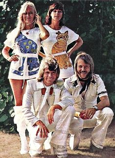 ABBA in costume in 1975: Bjorn and Benny smiling as if their life depends on it while all eyes go to Agnetha and Frida who just have to stand there...