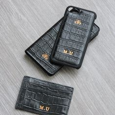Black on black!  S1 personalize . #serapaktugleathergoods #iphonewallet #iphonecase #cardholder #black #croco #cardholder #style #fashion #accessories #personalize #customize #initial