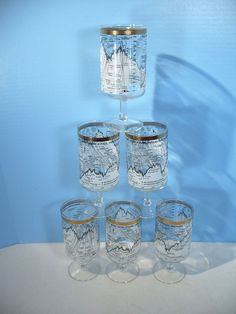 Dow Jones Cocktail Glasses Mid Century Stock Market 1958 to 1968 Cera Set of 6 #StockMarket