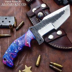 ALONZO KNIVES USA CUSTOM HANDMADE TANTO BUSHCRAFT TRACKER 1095 KNIFE CORELON 650 #AlonzoKnives
