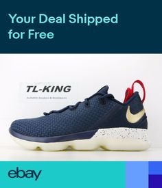 d72aad5d03a Nike LeBron 14 Low 4th July USA Midnight Navy Gold Red 878636-400 Msrp  150
