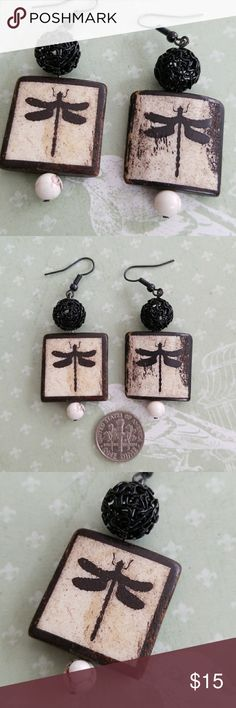 Handmade Boho Dragonfly Earrings Handmade One of a kind Wooden dragon fly beads accented with white turquoise and metal balls Hooks NWT Handmade Jewelry Earrings