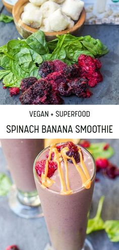 6 ingredient superfood spinach banana berry smoothie makes for the perfect easy 2 minute healthy breakfast or afternoon snack. Perfect for keeping colds away! Dairy Free Breakfasts, Gluten Free Recipes For Breakfast, Vegan Dessert Recipes, Easy Healthy Breakfast, Vegetarian Recipes, Whole30 Recipes, Smoothie Drinks, Smoothie Recipes, Drink Recipes