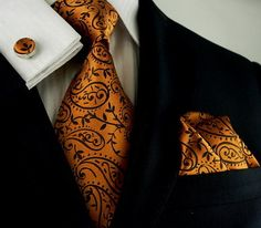 Copper and Black Paisley Wedding Tie Set JPM1896C
