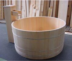 Hinoki wood tub, price range 3-5K.