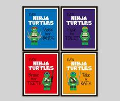 Lego Ninja Turtles Bathroom Prints Set Of By SimplyLoveCreations