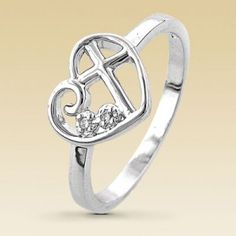 Love this ring! #heart #cross #ring