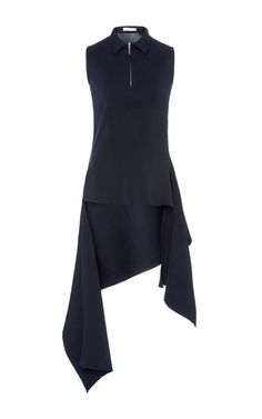 This **Adeam** features a draped back flounce with zip neck detail.