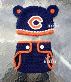 Crocheted Chicago Bears Hat  and diaper cover by TinyTippyToppers, $38.00