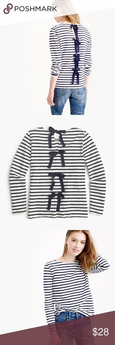 J. Crew • Striped Shirt with Bow Detail Sparkly bows detail the back of this adorable top! White and navy stripes are a classic. Great condition! J. Crew Tops Tees - Long Sleeve