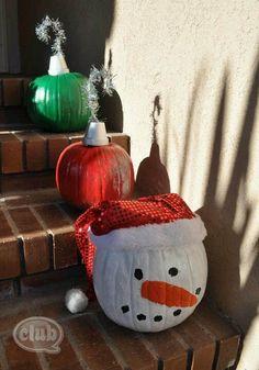 pumpkins for christmas decor why not pumpkin snowmen diy pumpkin - Decorating Pumpkins For Christmas Ideas