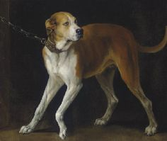 (not sighthound)   Follower of Sir Anthony Van Dyck  A Favorite Hound held by a Chain