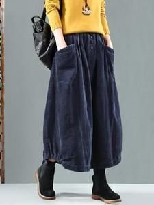 Sheinstreet Spring and Summer Vintage Corduroy Solid Skirt BLACK Iranian Women Fashion, Black Women Fashion, Womens Fashion, Hijab Fashion, Fashion Outfits, Fashion Top, Fashion Vintage, Corduroy Skirt, Skirts For Sale