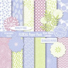 Floral Digital Paper Clipart flowers lavender green Paper Pack Scrapbook Page Chevron Polka Dots Commercial Use Seamless Papers Royalty Free by PrintableTales on Etsy https://www.etsy.com/listing/275484926/floral-digital-paper-clipart-flowers