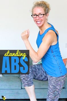 Wanna work your ABS without getting down on the ground? Then this is your workout! We& got a handful of tough STANDING ABS exercises, designed to strengthen and tone your ABS + OBLIQUES while working in every plane of motion in just ten minutes. Standing Ab Exercises, Standing Abs, Stretching Exercises, Tummy Exercises, Chair Exercises, Senior Fitness, Fitness Tips, Health Fitness, Health Club