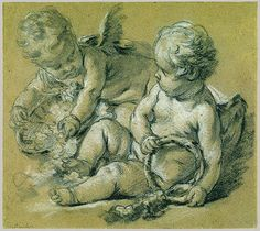 Two Winged Putti, ca. 1748–50 François Boucher (French, 1703–1770) Black chalk, brush and gray wash, heightened with white chalk, on beige...