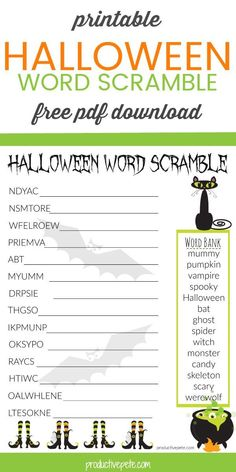 Free Printable Halloween Word Scramble Worksheet PDF for Kids This Halloween Word Scramble for Kids is great to use at home or in the classroom. It's a free, PDF printable worksheet that not only will kids enjoy; but it's an educational activity too! Halloween Tags, Printable Halloween, Halloween Worksheets, Halloween Class Party, Halloween Words, Halloween Activities For Kids, Worksheets For Kids, Holidays Halloween, Halloween 2020