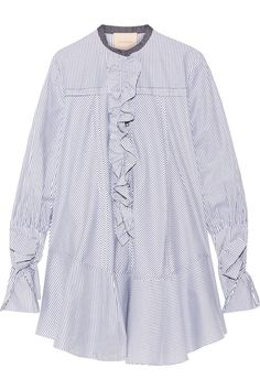Roksanda | Hecla ruffle-trimmed striped cotton-poplin dress | NET-A-PORTER.COM