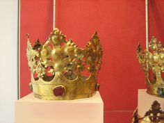 Three crowns from the church in Stotel, district Geestemünde. Copper, gilt. North Germany, 15th century