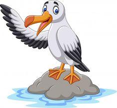 Cartoon cute albatross waving vector image on VectorStock Cartoon Drawings, Cute Drawings, Golf Quilt, Underwater Background, Inkscape Tutorials, Stone Art, Cartoon Characters, Baby Animals, Pokemon