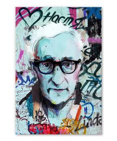 tableau-deco-woody-allen-street-art Woody Allen, Tableau Pop Art, Street Art, Portrait, Ink, Impressionism, Canvas, Men Portrait, Portraits