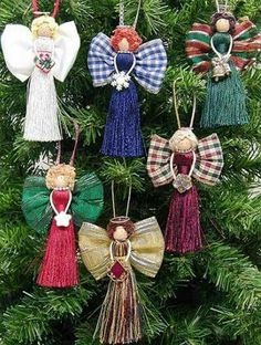 Wrights classroom offers a project for Christmas - Tassel Angels. Angel Crafts, Christmas Projects, Holiday Crafts, July Crafts, Christmas Angel Ornaments, Christmas Holidays, Christmas Decorations, Birthday Decorations, Homemade Ornaments