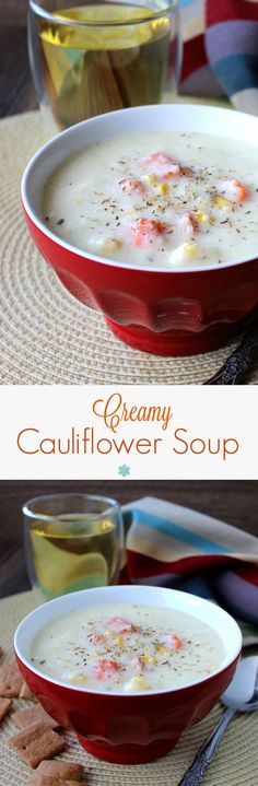 Creamy Cauliflower Soup is so delicious. Warm and creamy with the sweetness of carrots and corn added for texture. Easy, beautiful and satisfying!