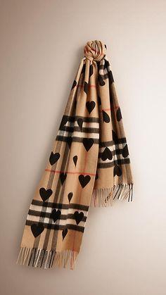 69b3195a7774 Black The Classic Cashmere Scarf in Check and Hearts -650.00 Carreau,  Laine, Tissu