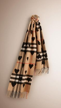 Black The Classic Cashmere Scarf in Check and Hearts Black -  1
