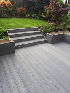 SAiGE Deep grain embossed decking in grey - Modern Design Back Garden Design, Backyard Garden Design, Backyard Patio, Backyard Landscaping, Back Gardens, Outdoor Gardens, Plastic Decking, Patio Deck Designs, Decking Area