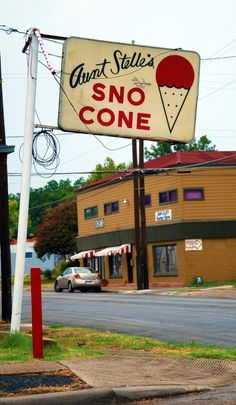 Aunt Stella's Snow Cones, Oak Cliff, Texas. Best shaved ice, and homemade syrups, served by Aunt Stella herself....