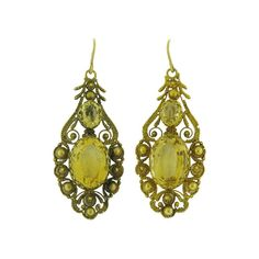 Antique Citrine and Cannetille Pendant Earrings offered by D. Bressler & Company, Inc. on InCollect Pendant Earrings, Gemstone Earrings, Gold Pendant, Statement Earrings, Gold Earrings, Drop Earrings, Antique Earrings, Gold Style, Birthstones