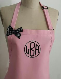 Monogrammed Apron -Pink apron with Black Embroidery - Pink apron black embroidery and Black Polka dots Bow - Hostess gift idea -Mother gift by Wheelering on Etsy