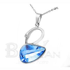 Dazzling crystal silver stainless steel goose kids pendants