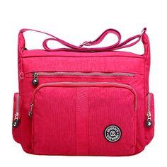 Material:Nylon    Lining Material:Polyester    Color:Light Blue,Dark Blue,Rose Red,Purple,Black    Weight:400g    Length:36cm(14.17'')    Width:15cm(5.91'')    Height:27cm(10.63'')    Structure:Main Pocket,Front Pocket,Back Pocket,Zipper Pocket,Phone Pocket,Card Pocket    Closure:Zipper                                 Package Include: 1 * Bag