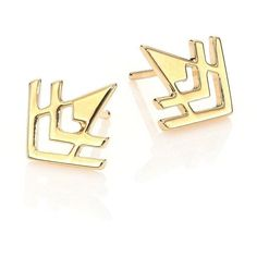 Tomtom Tribal Matters Small Warrior Stud Earrings (12325 ALL) ❤ liked on Polyvore featuring jewelry, earrings, apparel & accessories, gold, tribal jewelry, 18 karat gold stud earrings, studded jewelry, tomtom jewelry and 18k jewelry