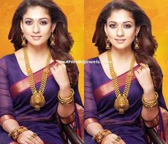 Nayanthara in GRT Gold Jewelleries ~ South India Jewels South Indian Bridal Jewellery, Indian Wedding Jewelry, Antique Jewellery Designs, Indian Jewellery Design, Saree Jewellery, Temple Jewellery, Saree Photoshoot, Gold Fashion, Indian Fashion