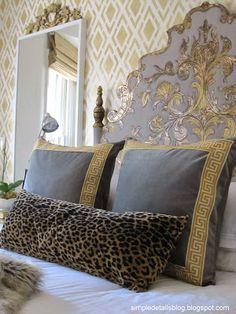 Simple details: one room challenge.bedroom reveal(s) velvet ikea pillows trimmed in greek key Home Bedroom, Master Bedroom, Bedroom Decor, Casa Magnolia, Headboard Designs, Headboard Ideas, Headboards, Gold Headboard, Painted Headboard